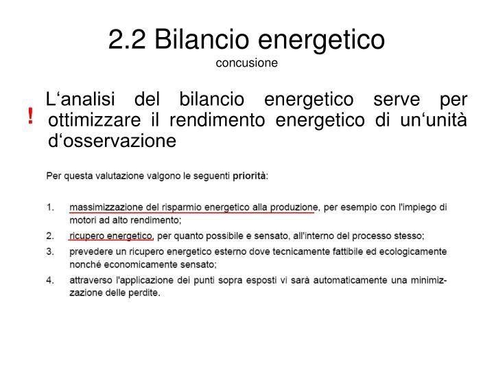 2.2 Bilancio energetico
