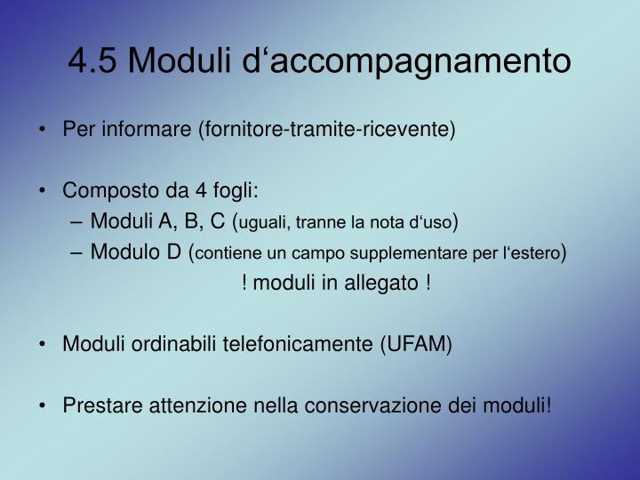4.5 Moduli d'accompagnamento
