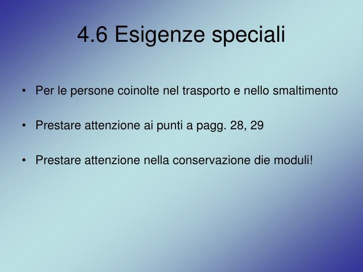 4.6 Esigenze speciali
