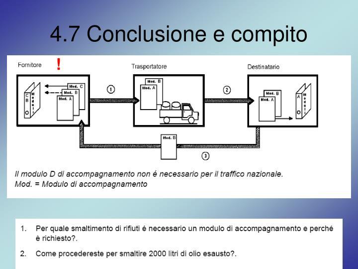 4.7 Conclusione e compito