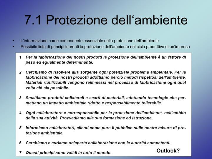 7.1 Protezione dell'ambiente