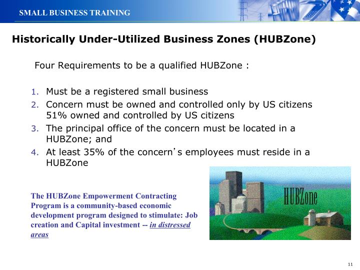 Historically Under-Utilized Business Zones (HUBZone)
