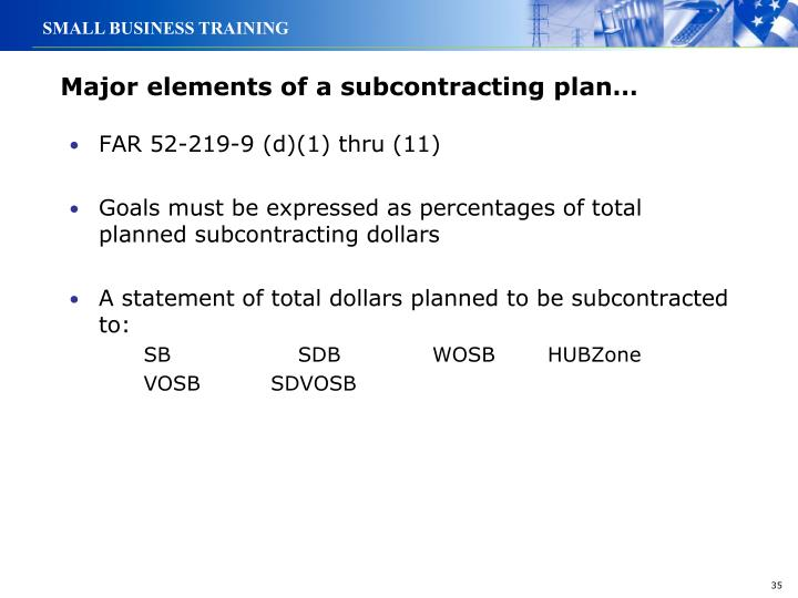 Major elements of a subcontracting plan…