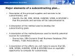 major elements of a subcontracting plan1