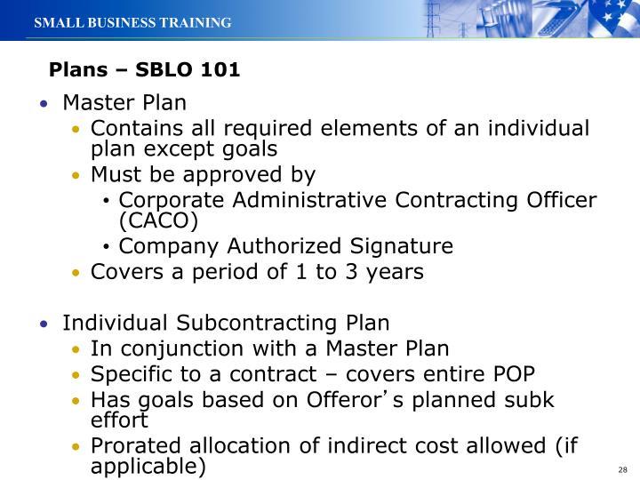 Plans – SBLO 101