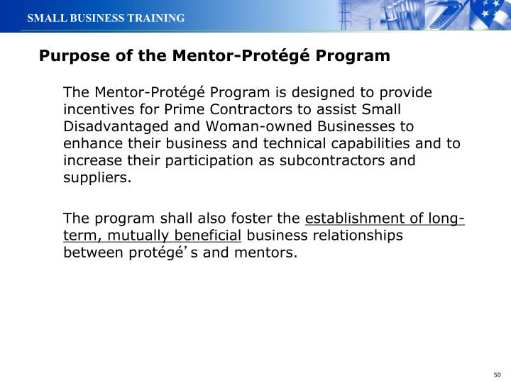 Purpose of the Mentor-Protégé Program