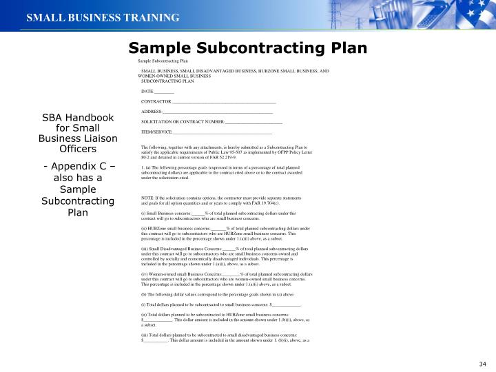 Sample Subcontracting Plan