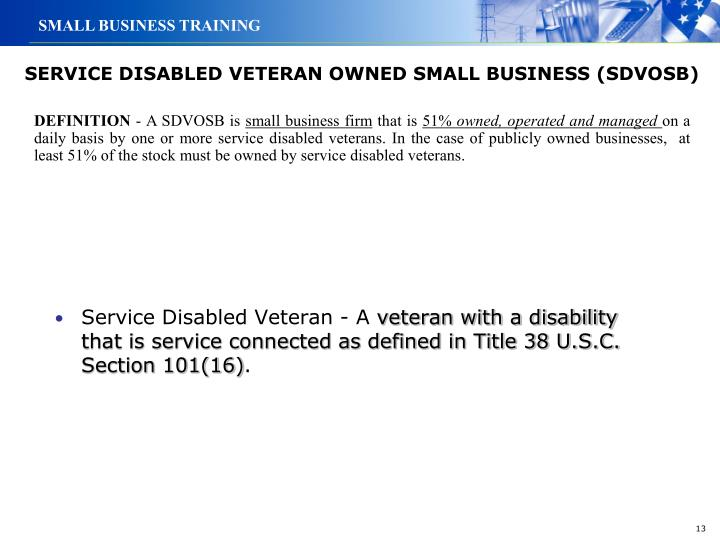 SERVICE DISABLED VETERAN OWNED SMALL BUSINESS (SDVOSB)