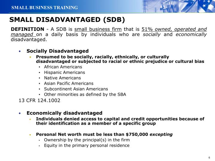 SMALL DISADVANTAGED (SDB)