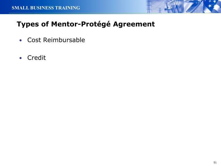 Types of Mentor-Protégé Agreement