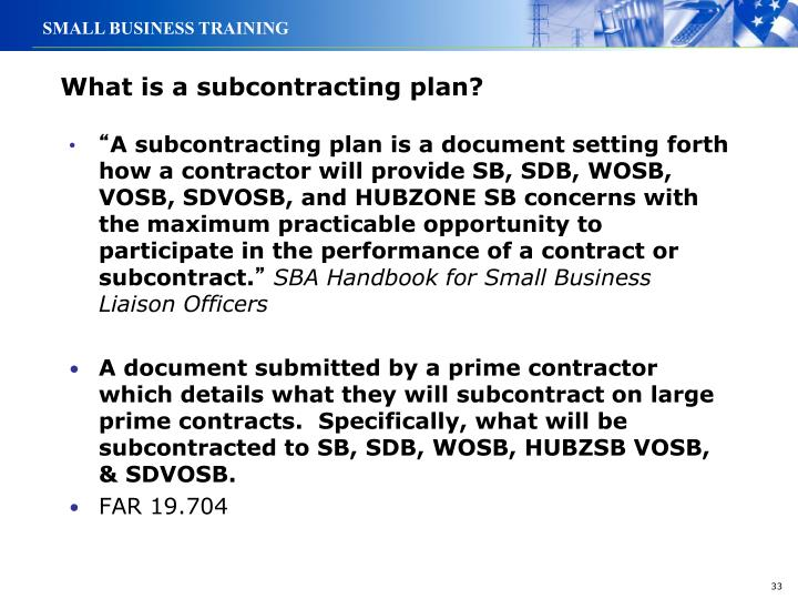 What is a subcontracting plan?