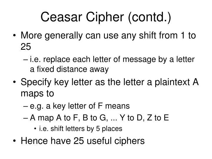 Ceasar Cipher (contd.)