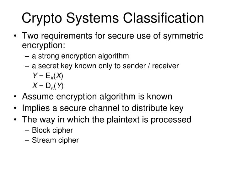 Crypto Systems Classification