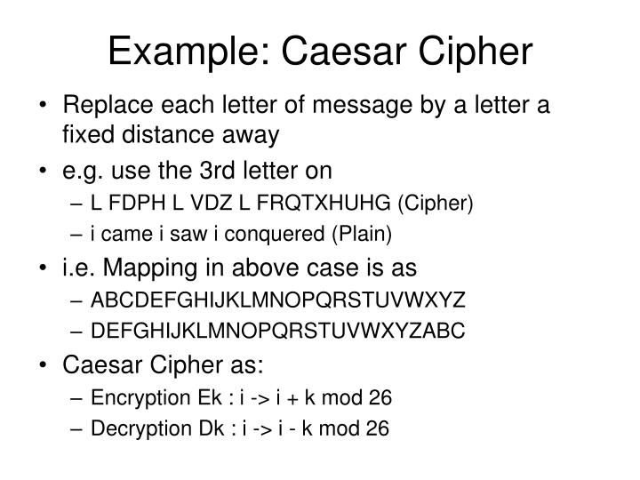 Example: Caesar Cipher
