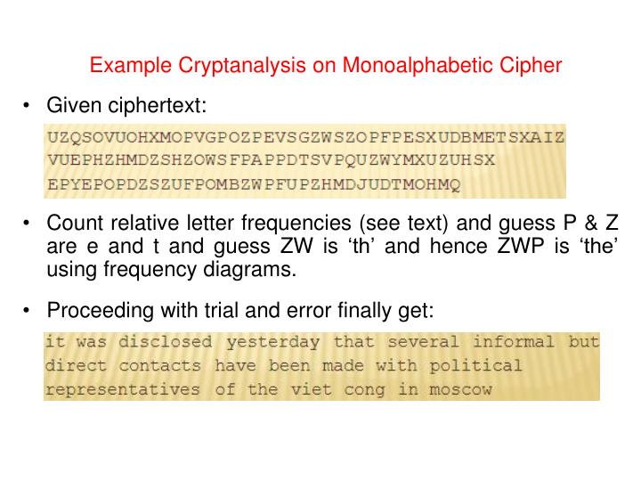 Example Cryptanalysis on