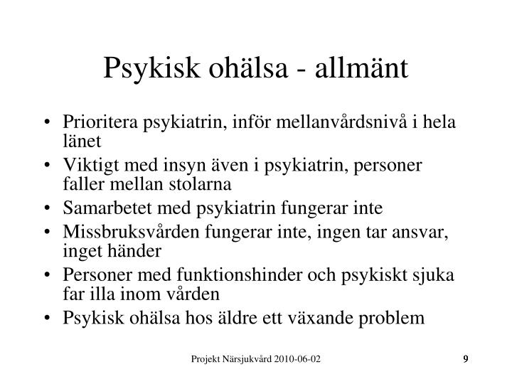 Psykisk ohälsa - allmänt