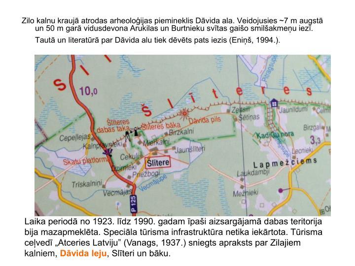 Zilo kalnu kraujā atrodas arheoloģijas piemineklis Dāvida ala. Veidojusies ~7 m augstā un 50 m garā vidusdevona Arukilas un Burtnieku svītas gaišo smilšakmeņu iezī. Tautā un literatūrā par Dāvida alu tiek dēvēts pats iezis (Eniņš, 1994.).