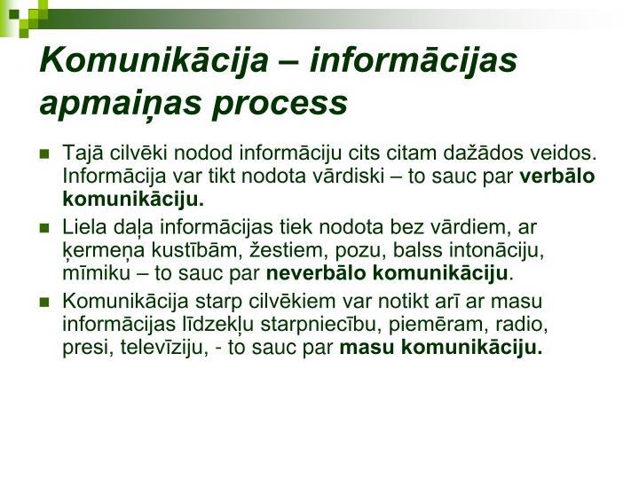 Komunikācija – informācijas apmaiņas process
