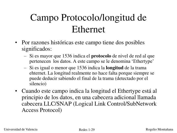 Campo Protocolo/longitud de Ethernet