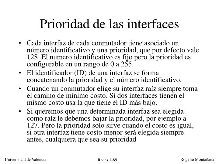 Prioridad de las interfaces