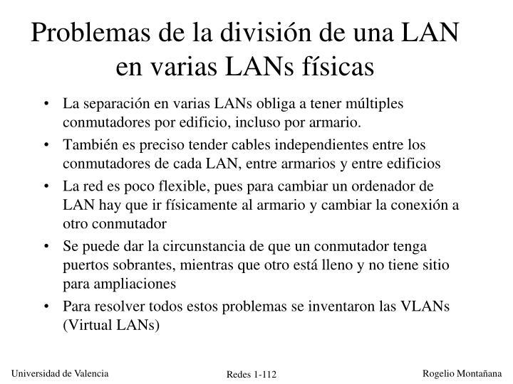 Problemas de la división de una LAN en varias LANs físicas