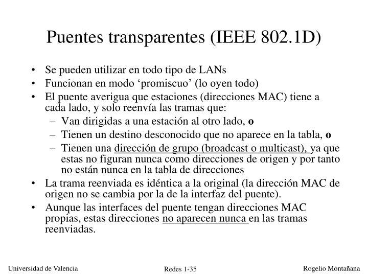 Puentes transparentes (IEEE 802.1D)