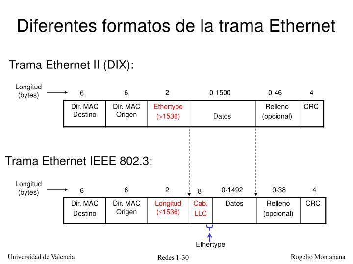 Diferentes formatos de la trama Ethernet