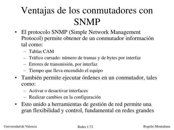 Ventajas de los conmutadores con SNMP