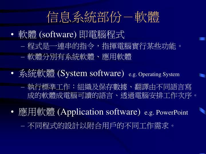 信息系統部份-軟體