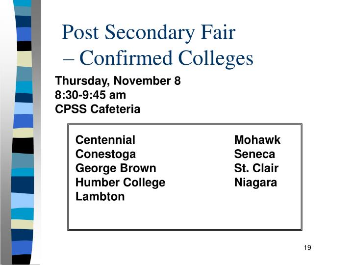 Post Secondary Fair