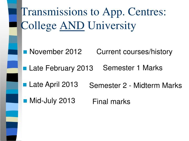 Transmissions to App. Centres: