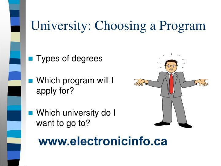 University: Choosing a Program