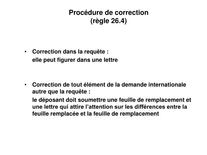 Procédure de correction