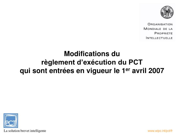 Modifications du