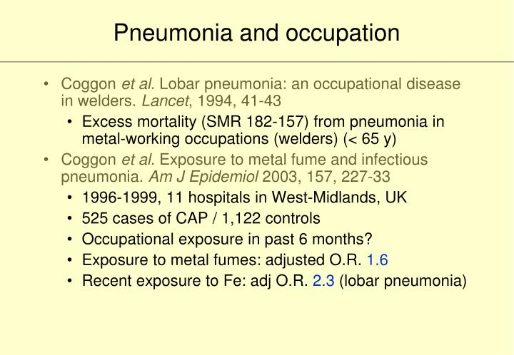 Pneumonia and occupation