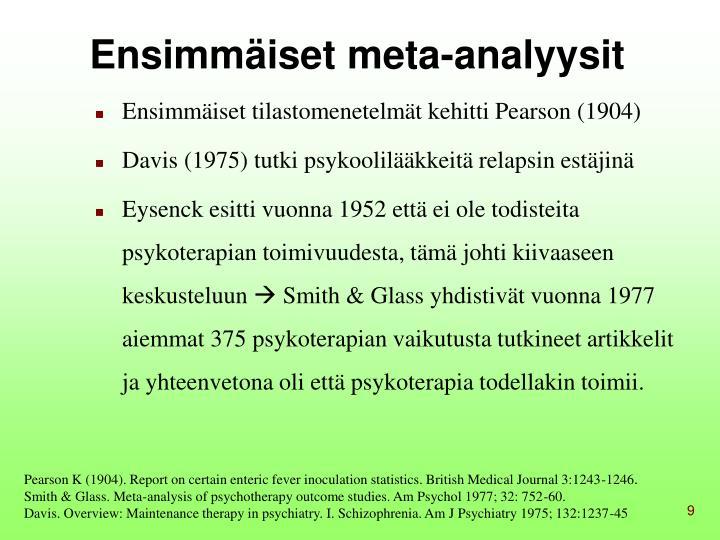 Ensimmäiset meta-analyysit