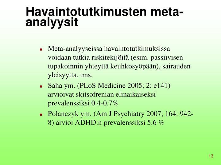 Havaintotutkimusten meta-analyysit