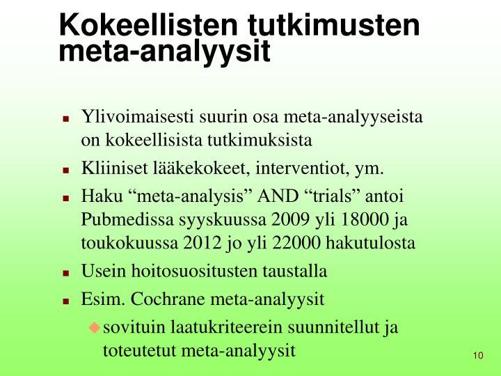 Kokeellisten tutkimusten meta-analyysit
