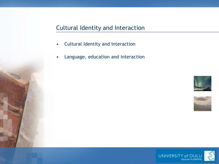 Cultural Identity and Interaction