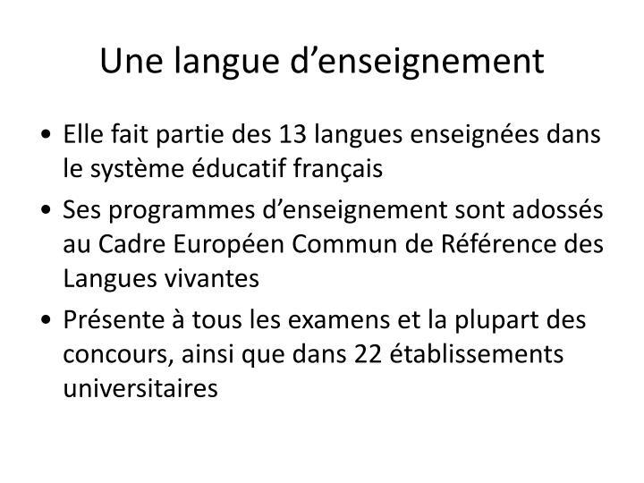 Une langue d'enseignement
