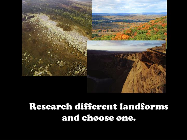 Research different landforms and choose one.