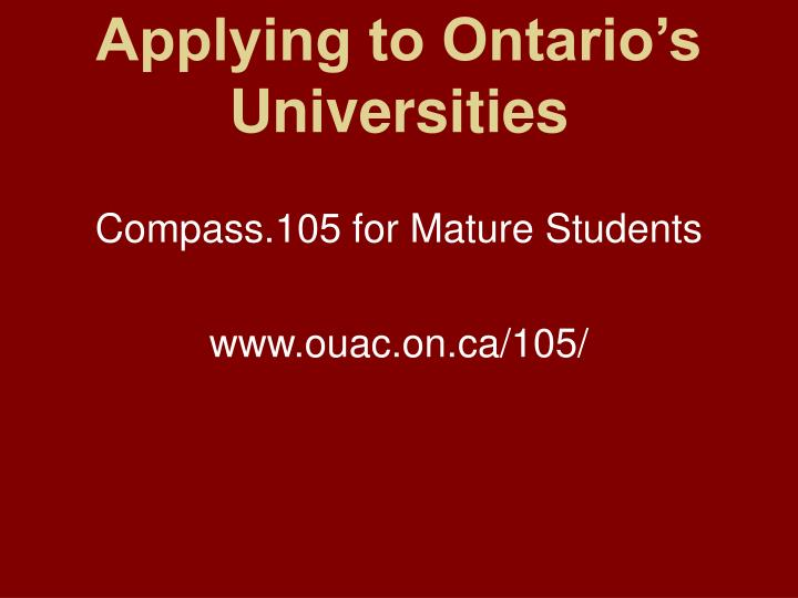 Applying to ontario s universities