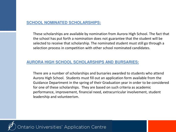 SCHOOL NOMINATED SCHOLARSHIPS: