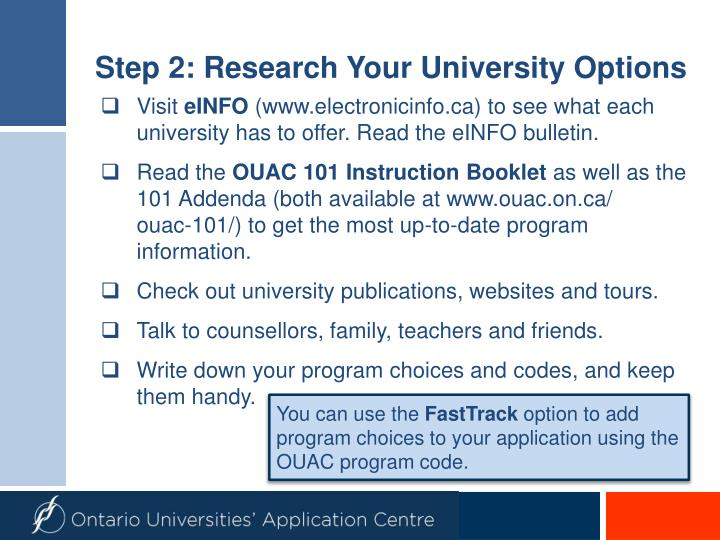 Step 2 research your university options