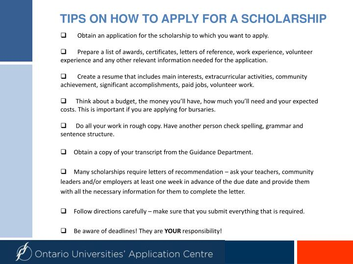 TIPS ON HOW TO APPLY FOR A SCHOLARSHIP