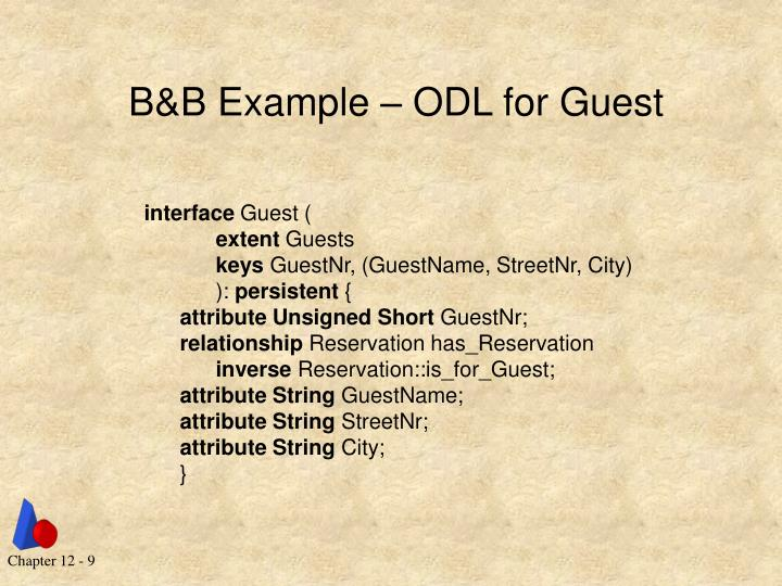B&B Example – ODL for Guest