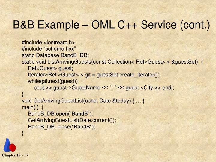B&B Example – OML C++ Service (cont.)
