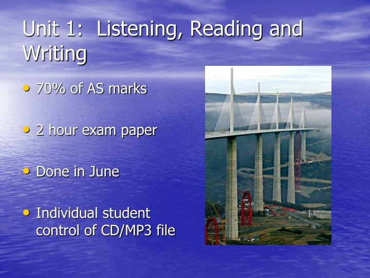 Unit 1:  Listening, Reading and Writing