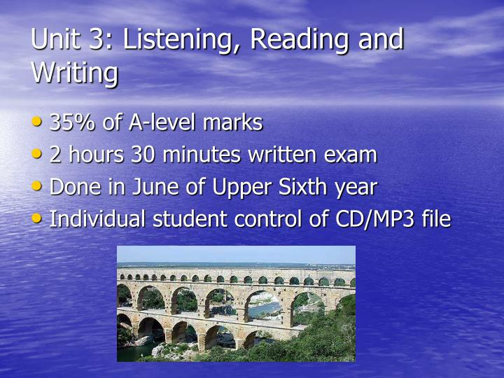 Unit 3: Listening, Reading and Writing