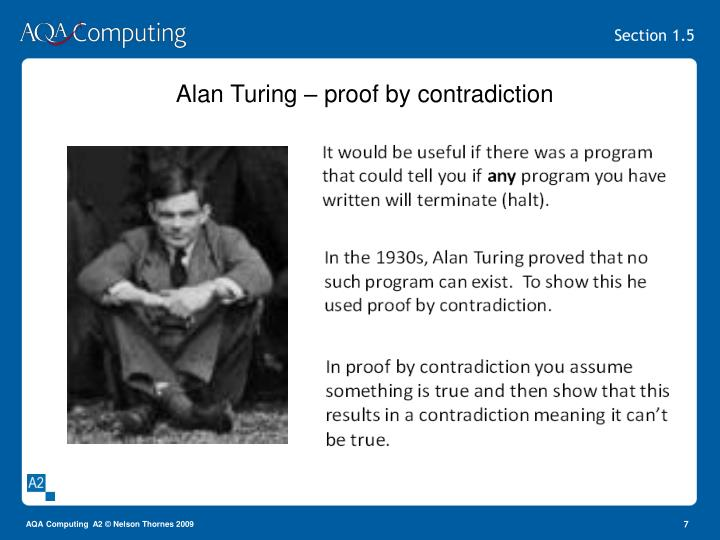 Alan Turing – proof by contradiction